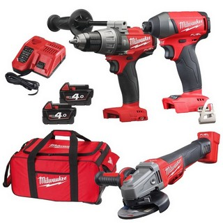 MILWAUKEE 18V BRUSHLESS COMBI, IMPACT DRIVER & ANGLE GRINDER KIT WITH 2 X 4.0AH LI-ION BATTERIES