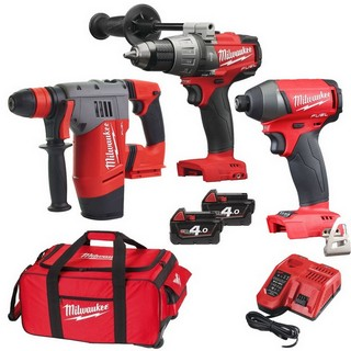 MILWAUKEE 18V BRUSHLESS COMBI, IMPACT DRIVER & CHPX SDS DRILL KIT WITH 2 X 4.0AH LI-ION BATTERIES