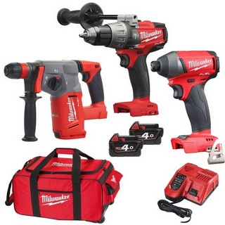 MILWAUKEE 18V BRUSHLESS COMBI, IMPACT DRIVER & CHX SDS DRILL KIT WITH 2 X 4.0AH LI-ION BATTERIES