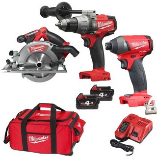 MILWAUKEE 18V BRUSHLESS COMBI, IMPACT DRIVER & CIRC SAW KIT WITH 2 X 4.0AH LI-ION BATTERIES
