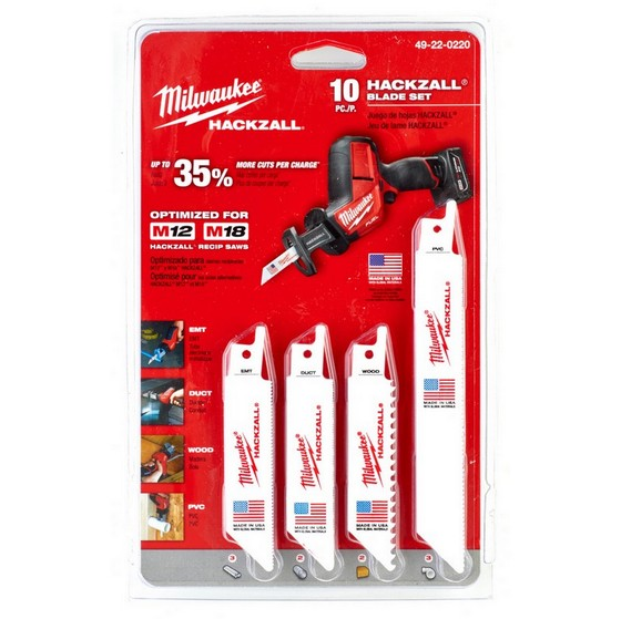 MILWAUKEE 49-22-0220 10 PIECE HACKZALL BLADE SET (Includes Carry Pouch)