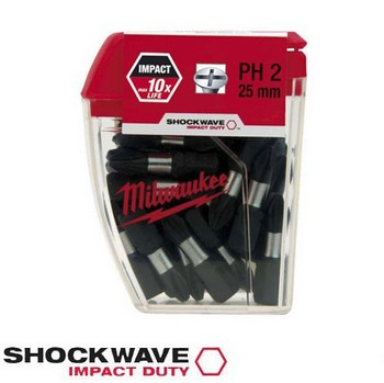 MILWAUKEE 4932352551 SHOCKWAVE PH2 IMPACT DUTY SCREW BIT (PACK OF 25)