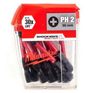 MILWAUKEE 4932430855 SHOCKWAVE PHILLIPS SCREWDRIVER BITS PH2X50MM (PACK OF 10)