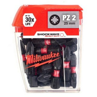 MILWAUKEE 4932430864 SHOCKWAVE POZI SCREWDRIVER BITS PZ2X25MM (PACK OF 25)