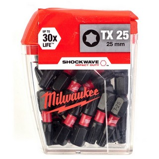 MILWAUKEE 4932430880 SHOCKWAVE TORX BITS TX25X25MM (PACK OF 25)