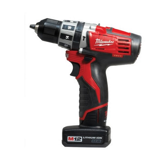 MILWAUKEE C12PD-32 12V COMBI HAMMER DRILL 2 X 3.0ah RED Li-ion  BATTERIES