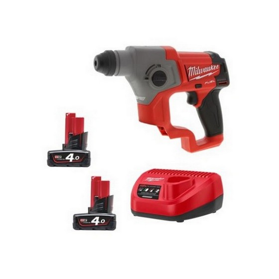 Milwaukee M12CH-402C M12 12V FUEL Brushless Compact SDS Plus Hammer Drill With 2x4.0ah Red Li-ion Batteries