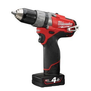 MILWAUKEE M12CPD-402C FUEL 12V COMBI HAMMER DRILL 2 X 4.0AH RED LI-ION BATTERIES