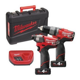 MILWAUKEE M12PP2A-402C 12V BRUSHLESS COMBI & IMPACT DRIVER 2 X 4.0AH RED LI-ION BATTERIES