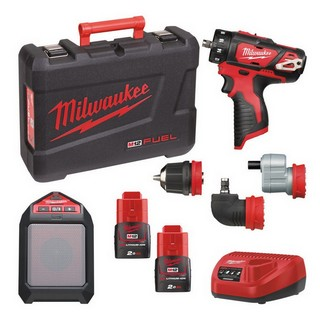 MILWAUKEE M12SET2N-202C M12BDDX & M12JSSP KIT WITH 2X 2.0AH LI-ION BATTERIES