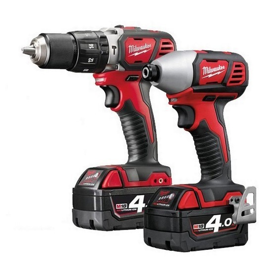 MILWAUKEE M18BPP2C-402C 18V HEAVY DUTY COMBI AND IMPACT DRIVER TWIN PACK WITH 2X 4.0AH LI-ION BATTERIES