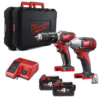 MILWAUKEE M18BPP2K-402 18V COMBI & IMPACT WRENCH 2 X 4.0AH LI-ION BATTERIES