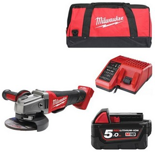 MILWAUKEE M18CAG115XPD-501B 18V BRUSHLESS 115MM ANGLE GRINDER WITH 1X 5.0AH LI-ION BATTERY, CHARGER & CANVAS BAG