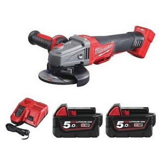 MILWAUKEE M18CAG115XPDB-502BAG 18V BRUSHLESS ANGLE GRINDER WITH 2X 5.0AH LI-ION BATTERIES (SUPPLIED IN CARRY BAG)