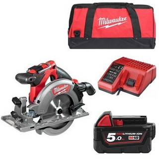 MILWAUKEE M18CCS55-501B 18V BRUSHLESS CIRCULAR SAW WITH 1X 5.0AH LI-ION BATTERY, CHARGER & CANVAS BAG