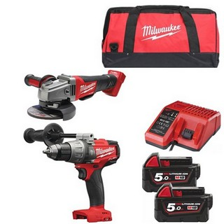 MILWAUKEE M18FPD+M18CAG115XPD-502B 18V BRUSHLESS COMBI HAMMER DRILL & ANGLE GRINDER WITH 2X 5.0AH LI-ION BATTERY, CHARGER & CANVAS BAG