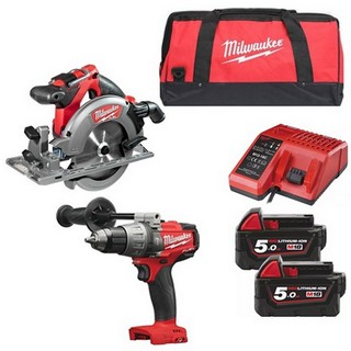 MILWAUKEE M18FPD+M18CCS55-502B 18V BRUSHLESS COMBI HAMMER DRILL & CIRCULAR SAW WITH 2X 5.0AH LI-ION BATTERY, CHARGER & CANVAS BAG
