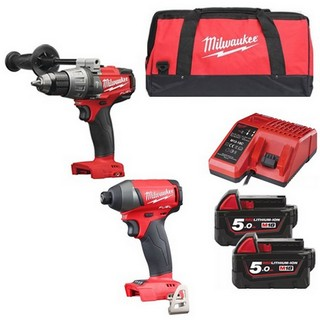 MILWAUKEE M18FPD+M18FID-502B 18V BRUSHLESS COMBI HAMMER DRILL & IMPACT DRIVER WITH 2X 5.0AH LI-ION BATTERY, CHARGER & CANVAS BAG