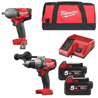 MILWAUKEE M18FPD+M18FMTIWF-502B 18V BRUSHLESS COMBI HAMMER DRILL & IMPACT WRENCH WITH 2X 5.0AH LI-ION BATTERY, CHARGER & CANVAS BAG