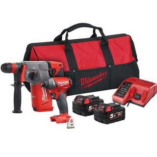 MILWAUKEE M18FPP2AC-502B 18V BRUSHLESS TWIN PACK IMPACT DRIVER & SDS DRILL WITH 2X 5.0AH LI-ION BATTERIES & CHARGER SUPPLIED IN BAG