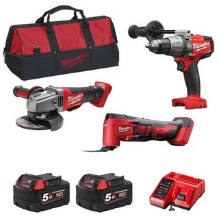 MILWAUKEE M18FPP3D-502 18V BRUSHLESS FUEL 3 PIECE PACK WITH 2X 5.0AH LI-ION BATTERIES