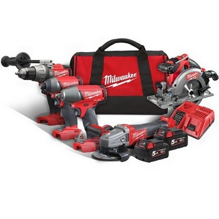 MILWAUKEE M18FPP5H-502B 18V BRUSHLESS FUEL 5 PIECE KIT WITH 2X 5.0AH LI-ION BATTERIES