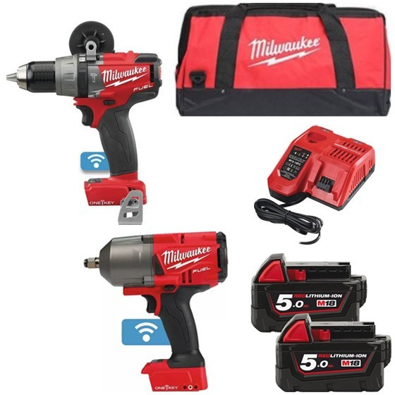 MILWAUKEE M18ONEPP2L-502B 18V COMBI DRILL & IMPACT WRENCH WITH 2X 5 0AH  LI-ION BATTERIES, CHARGER & CANVAS BAG
