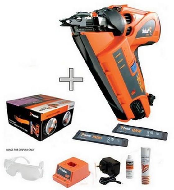 PASLODE IM90I 1ST FIX NAILER 2 X 6V 1.5AH NiMH BATTERIES + 142029 75mm Bright Nail Fuel Pack