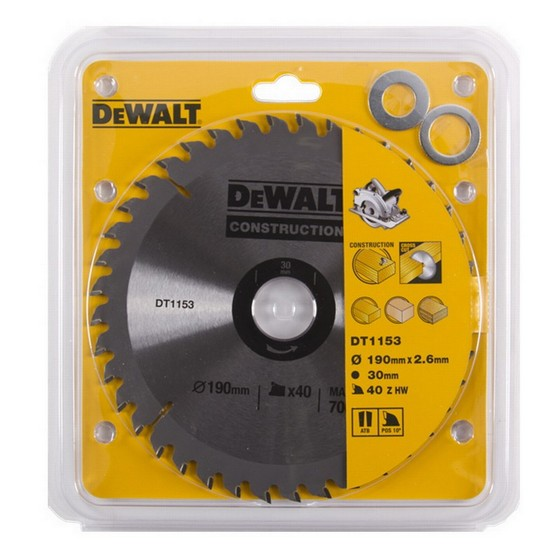 DEWALT DT1153-QZ SERIES 30 CIRCULAR SAW BLADE 190mm X 30mm Bore X 40 Teeth