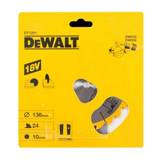 DEWALT DT1201-QZ CORDLESS TRIM SAW BLADE 136MM X 10MM BORE X 24 TEETH