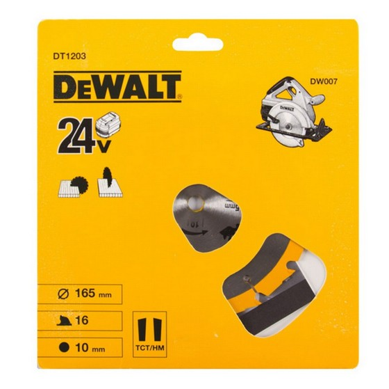 DEWALT DT1203-QZ CORDLESS TRIM SAW BLADE 165mm X 10mm Bore X 16 Teeth