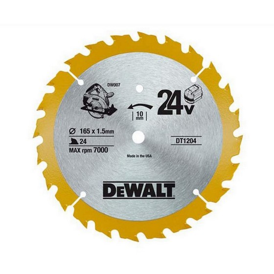 DEWALT DT1204-QZ CORDLESS TRIM SAW BLADE 165mm X 10mm Bore X 24 Teeth
