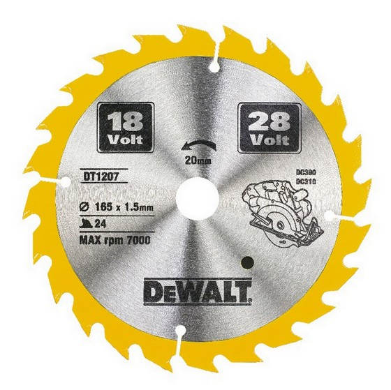 DEWALT DT1207-QZ CORDLESS TRIM SAW BLADE 165mm X 20mm Bore X 24 Teeth