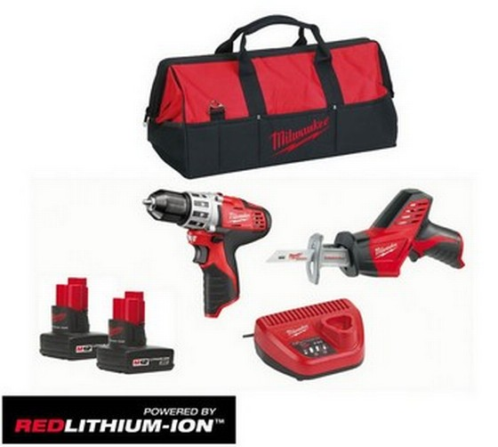 MILWAUKEE C12PP2-32C 12V SCREWDRIVER & HACKSAW 2 X 3.0ah RED Lithium BATTERIES AND KIT BAG