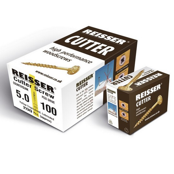 Image of REISSER R2 CUTTER CSK BOX OF 200 WOODSCREWS 45 x 70mm