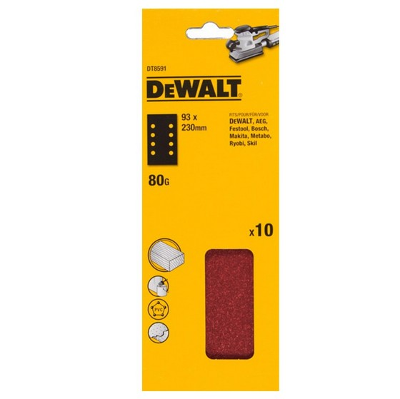 Image of DEWALT DT8591QZ 93X230MM SANDING SHEET MULTI PURPOSE 80 GRIT PACK OF 10