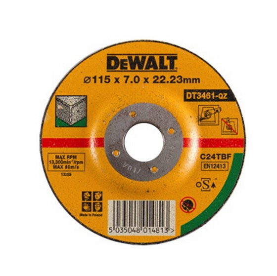 Dewalt DT3461-QZ 115x7.0x22.2mm Depressed Centre Stone Grinding Disc