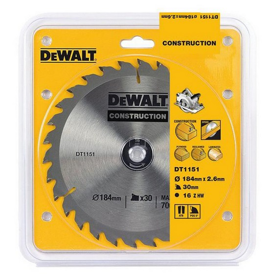DEWALT DT1151-QZ SERIES 30 CIRCULAR SAW BLADE 184MM X 16MM BORE 30T