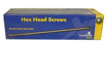 Carpenters Mate CMHH-190-10 Pack Of 10 Pro Hexagon Head Screws 190mm
