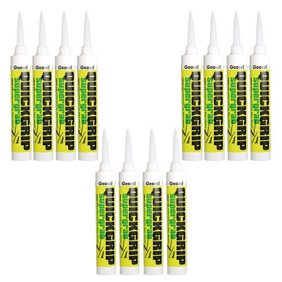 GEOCEL 2942691 QUICKGRIP SF MULTI PURPOSE SUPER GRAB GAP FILLING ADHESIVE SOLVENT FREE WHITE 380ML BOX OF 12 TUBES