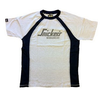 Snickers Ash / Navy Logo T-Shirt 2500-0795 Medium