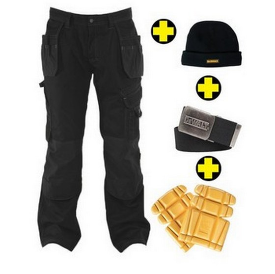 "DEWALT DWC17/001 LOW RISE TROUSERS 38"" WAIST 32"" LEG BLACK WITH KNEE PADS, BELT AND BEANIE HAT"