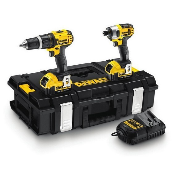 DEWALT DCK285M2 18V 2 SPEED COMBI DRILL & IMPACT DRIVER TWIN PACK WITH 2X 4.0AH LI-ION BATTERIES