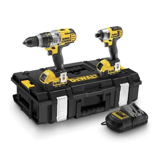 DEWALT DCK290M2 18V 3 SPEED COMBI DRILL & IMPACT DRIVER TWIN PACK WITH 2X 4.0AH LI-ION BATTERIES