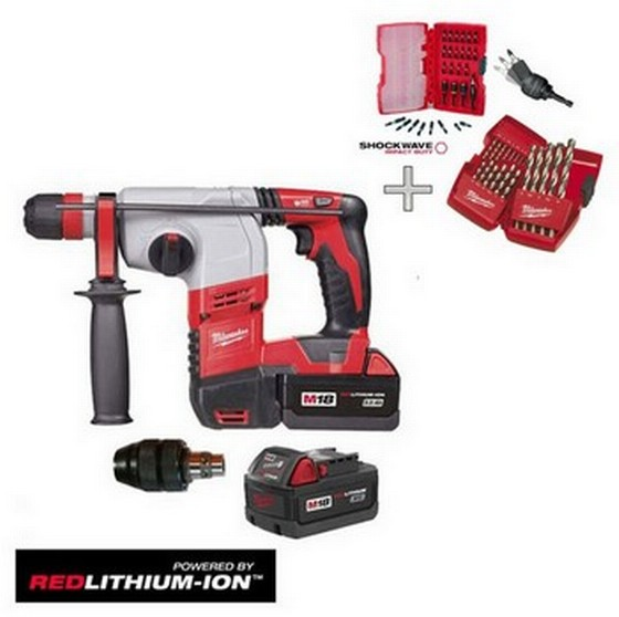 MILWAUKEE HD18HX-32 18v SDS+ HAMMER DRILL 2 x 3.0ah RED Lithium-ion BATTERIES + Over £50 of Accessories Free of Charge