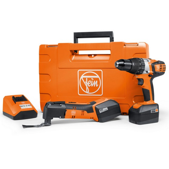 FEIN ASB14-AFMM14 14.4V COMBI HAMMER & MULTIMASTER TWIN PACK 2x4.0ah Li-ion Batteries