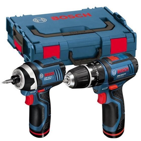Image of Bosch Gsb1082 Li Combi Drill Gdr108vli Impact Driver 108v 2x 20ah Liion Batteries In Lboxx