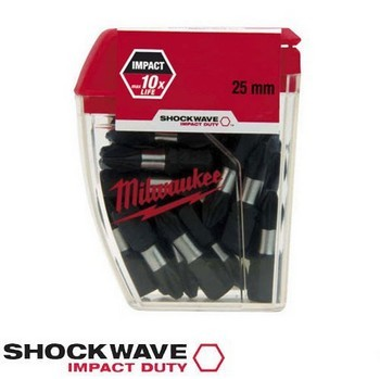 MILWAUKEE 4932352556 SHOCKWAVE TX25 IMPACT DUTY SCREW BIT (PACK 25)