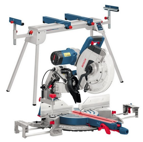 Image of Bosch Gcm12gdl 305mm Gliding Mitre Saw 240v Gta2600 Legstand