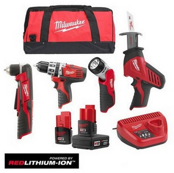 MILWAUKEE C12PP4F-42B 12v PERCUSSION DRILL, HACKSAW, RIGHT ANGLE DRILL AND TORCH KIT